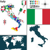 Map of Italy Stock Photography