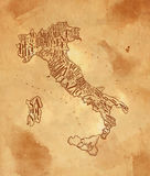 Map Italy vintage craft Royalty Free Stock Photography
