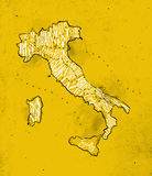 Map Italy vintage yellow Royalty Free Stock Photography