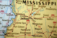 Map of Jackson, Mississippi. Map of Jackson and surrounding area stock photography
