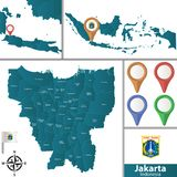 Map of Jakarta with Districts. Vector map of Jakarta with named districts, pins icons and locations on Indonesian map royalty free illustration