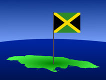 Map of Jamaica with flag Stock Image
