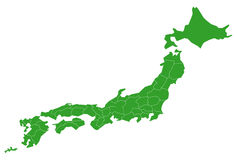 Map of Japan. A simple white background map of Japan Royalty Free Stock Image