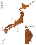 Map of Japan. High detailed vector japan map Royalty Free Stock Image