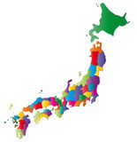 Map of Japan. Japan map designed in illustration with regions colored in bright colors. Vector illustration royalty free illustration