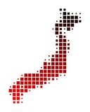 Map of Japan. In squares with red gradient Royalty Free Illustration