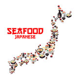 Map of Japan with asian cuisine seafood dishes. Japanese cuisine sushi roll and nigiri, seafood soup and rice with shrimp, salmon, tuna and caviar, soy sauce Stock Images