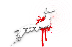 Map of Japan bleeding. Japan earthquake disaster in 2011 stock illustration