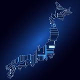 Map of Japan with electronic circuit Royalty Free Stock Photography