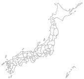 Map of Japan Royalty Free Stock Photos