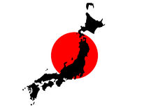 Map of Japan and Japanese flag Royalty Free Stock Photo