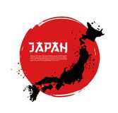 Map of Japan and Japanese flag. Vector hand drawn Royalty Free Stock Photo