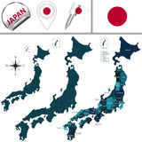 Map of Japan with named prefectures Royalty Free Stock Image