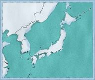 Map of Japan, North Korea and South Korea, physical map Asia, East Asia, map with reliefs and mountains and Pacific Ocean. Atlas, cartography stock illustration