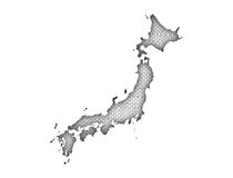 Map of Japan on old linen Stock Photos