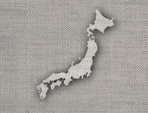 Map of Japan on old linen Royalty Free Stock Photo
