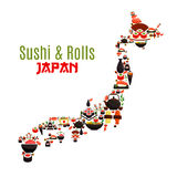 Map of Japan of seafood sushi, sashimi and rolls. Sushi, sashimi and seafood rolls in Japan map. Japanese cuisine symbol of steamed rice with shrimps and noodles Stock Images
