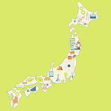 Map of Japan with technology icons Stock Photography