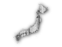 Map of Japan on weathered wood. Colorful and crisp image of map of Japan on weathered wood stock image