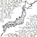 Map of Japanese Prefectures. brush stroke line. Stock Images