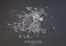 Map of Jerusalem, Israel, satellite view Stock Images
