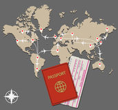 Map jet routes passport Stock Images