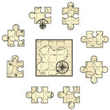 Map Jigsaw. Map cartoon, jigsaw puzzle pieces, vector illustration, square Royalty Free Stock Image
