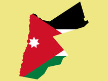 Map of Jordan. And  flag illustration Stock Photography