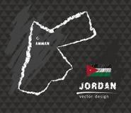 Map of Jordan, Chalk sketch vector illustration. Vector sketch map of Jordan with flag, hand drawn chalk illustration. Grunge design Stock Image