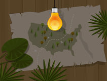 Map jungle bulb night america dark Royalty Free Stock Image
