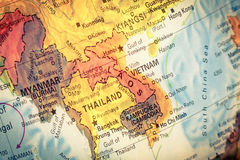 Map of Kampuchea,Cambodia. Close-up image. Vintage Map Kampuchea ,Cambodia. Close-up macro image of South East Asia map . Selective focus on Cambodia stock image