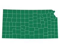 Map of Kansas. Detailed and accurate illustration of map of Kansas Royalty Free Stock Image