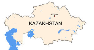 Map of Kazakhstan Royalty Free Stock Photo