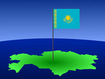 Map of Kazakhstan with flag Royalty Free Stock Photography