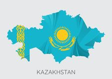 Map of Kazakhstan. With Flag As Texture Isolated On Grey Background. Vector Illustration stock illustration