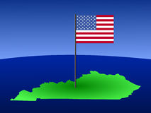 Map of Kentucky with flag Stock Photo
