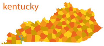 Map of kentucky, usa Royalty Free Stock Images