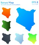 Map of Kenya with beautiful gradients. Alive set of Kenya maps. Cute vector illustration vector illustration