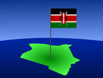 Map of Kenya with flag Stock Images