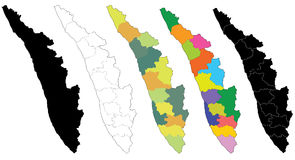 Map of Kerala. An useful map of Kerala state, India with borders of districts Royalty Free Stock Photography