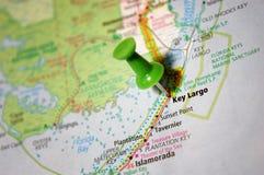 Key Largo, Florida. A map of Key Largo, Florida marked with a push pin stock photography