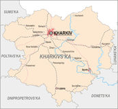 Map of Kharkiv Oblast Stock Photography