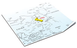 Map of the korea. Golden broch on the map of the korea Stock Photo