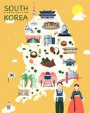 Map Of Korea Attractions Vector And Illustration. Map Of Korea Attractions Vector And Illustration royalty free illustration