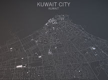 Map of Kuwait City, Kuwait, satellite view Stock Photo