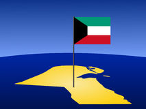Map of Kuwait with flag Royalty Free Stock Images