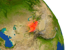 Map of Kyrgyzstan in red Stock Image