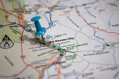 Lake Havasu City, Arizona. A map of Lake Havasu City, Arizona marked with a push pin royalty free stock images