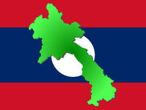 Map of Laos. And their flag illustration Stock Photography