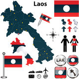 Map of Laos. Vector of Laos set with detailed country shape with region borders, flags and icons Stock Image